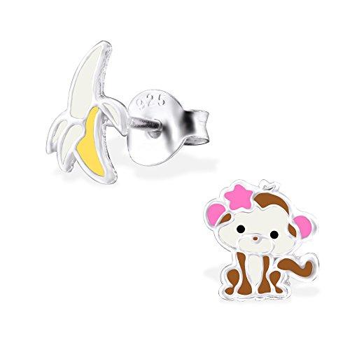 Cheeky Monkey et banane–Boucles d'Oreilles Femme–Argent 925/1000