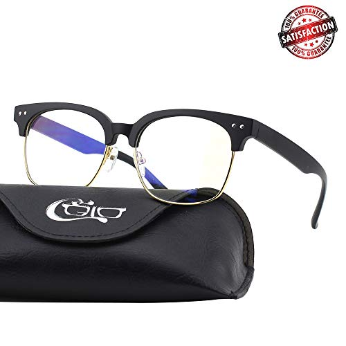 CGID CT44 Premium TR90 Frame Blue Light Blocking Glasses,Anti Glare Fatigue Blocking Headaches Eye Strain,Safety Glasses for Computer/Phone/Tablets,Flexible Unbreakable Frame,Transparnet Lens ()