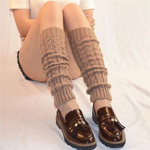 Women Ladies Winter Spring Knit Crochet Leg Warmers Socks Boots Knee Trim Boot Warmer Solid Color Body Warmer Polainas Khaki