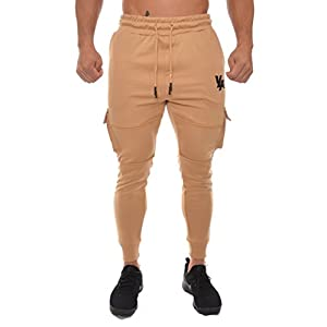YoungLA Men's Gym Joggers Cargo Style Pants W/Multiple Pockets Tapered Fit 203 Camel Medium