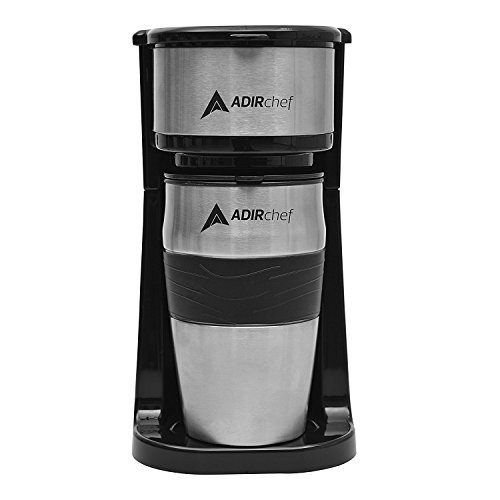 Save 33%! - AdirChef Grab N Go Personal Coffee Maker with 15 oz. Travel Mug, Black/Stainless Steel