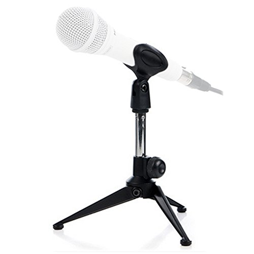 Etubby Adjustable Foldable Tripod Desktop Microphone Stand Holder with Mic Clip for Meetings, Lectures, Podcasts, and More