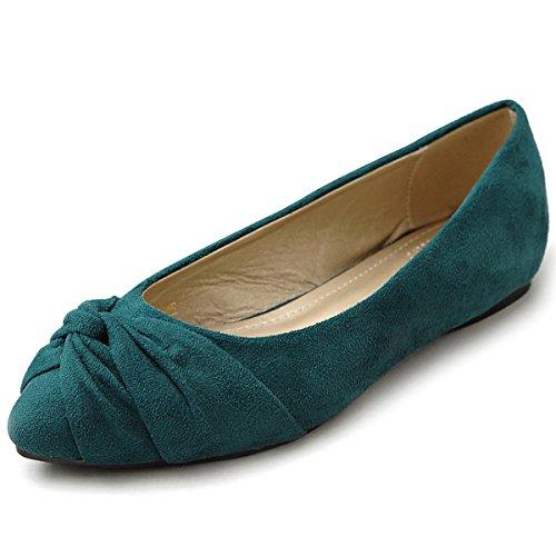 Ollio Donna Scarpa Da Ballo Nodo Finto Camoscio Comfort Carino Piatto Verde Scuro