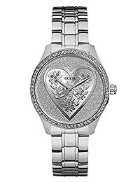 GUESS Factory Silver-Tone Glitter Heart Watch