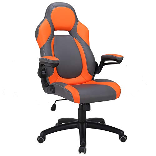 Orange Chair Office (LasVillas Ergonomic High Back PU Leather Office Chair Gaming Chair Racing Chair with Adjustable Armrest (Orange))