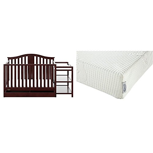 Graco Solano 4-in-1 Convertible Crib and Changer with Drawer, Espresso with Graco Natural Organic Foam Crib and Toddler Mattress (Natural 1 Drawer)