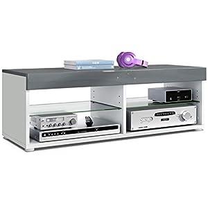 Vladon Meuble TV Bas Table Téléviseur Pure, Corps en Blanc Mat/Bordures et Plateau supérieur en Gris Haute Brillance