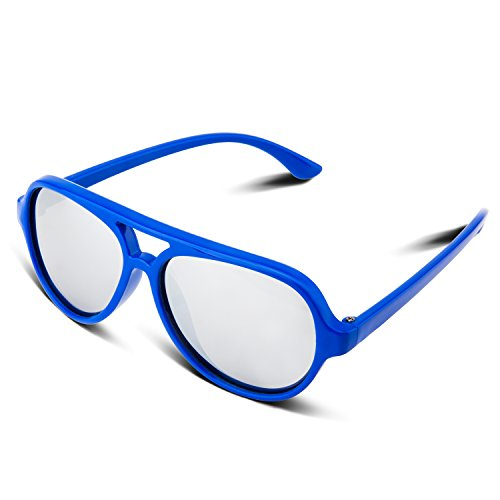 RIVBOS Rubber Kids Polarized Sunglasses With Strap Glasses for Boys Girls Baby and Children Age 3-10 RBK023 (A Blue Coating - Sunglasses Girls Stylish For