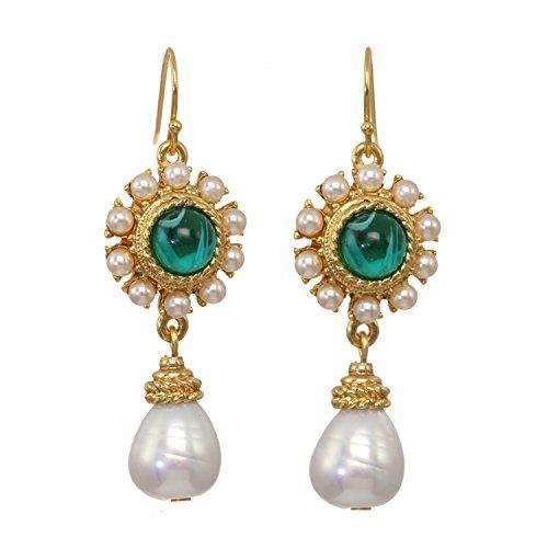 Ben-Amun Boucles d'oreilles - Plaqué or avec centre en verre vert et perles - Femme