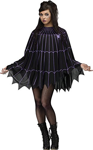 Fun World Women's Spider Web Poncho Costume, Multi, -