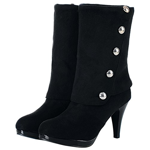 und mit Mid 8cm AIYOUMEI Schwarz Winter Heels Elegant High Absatz Stiletto Calf Stiefel Damen Boots Halbschaft Nieten qttUpxX