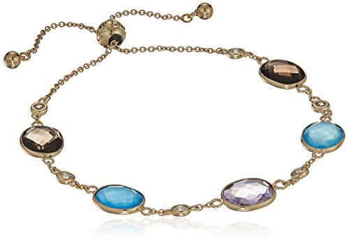 Yellow Gold Plated SS Smoky Quartz, Blue Agate and Amethyst with Swarovski Zirconia Accents Bracelet