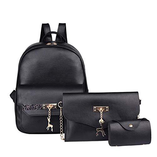 Grey Glitter Handbag Set 3Pcs Shoulder Pendant PU Women Chain Leather qOz58Own