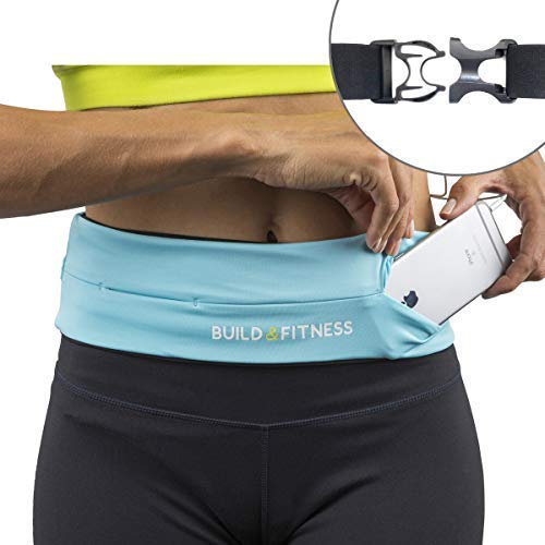 Build & Fitness Running Belt Waist Adjustable, Comfortable Slim with Key Clip - Fits Fuel Gel, iPhone 6,7,8plus,X, Samsung S7,S8,S9 - for Men, Women, Runners, Jogging, Gym, Yoga, Workout, Sports by Build & Fitness (Image #8)