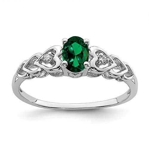 - 925 Sterling Silver Created Green Emerald Diamond Band Ring Size 8.00 Set Birthstone May Gemstone Fine Jewelry Gifts For Women For Her