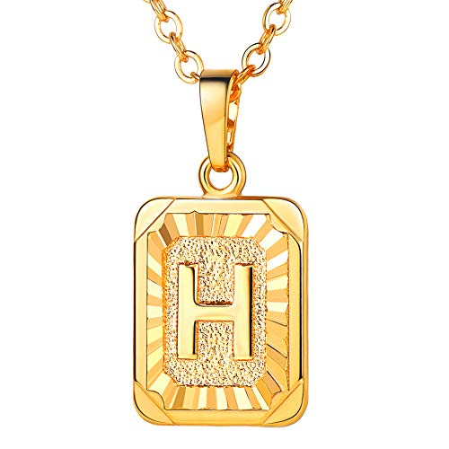 U7 Monogram Necklace Gift for Women 18K Gold Plated Square Script Initial Jewelry Letter Pendant (Letter H)