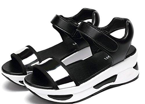 verano YCMDM Plataforma Sandalias Walking carrera Comfort de y mujer Outdoor Leatherette para Casual Buckle sliver Creepers Oficina Creepers CwXrqpUw