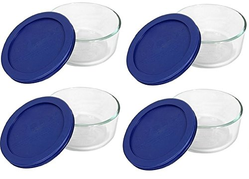 Pyrex Storage 2 Cup Round Dish, Clear with Blue Lid, Pack of 4 Containers by Pyrex