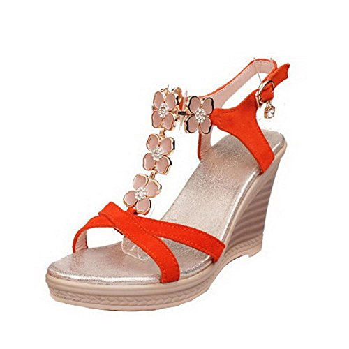 VogueZone009 Womens Open Toe High Heel Platform Wedges Blend Materials Frosted Solid Sandals with Metal and Flower Jacinth OXWy3PGss
