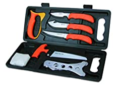 This complete 8-piece, field-to-freezer game processing set with hard-side carry case includes a caping knife, gut-hook skinner, boning/fillet knife, wood/bone saw, ribcage spreader, game cleaning gloves, and a tungsten carbide sharpener to m...