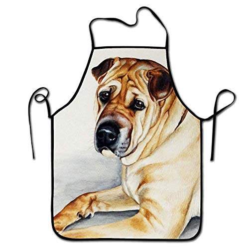 FEDDIY Women's Men's Machine Washable Durable String Animal Shar Pei Dogs Puppy Dog Apron for BBQ, Cooking, Working, Grilling, Baking, Crafting]()