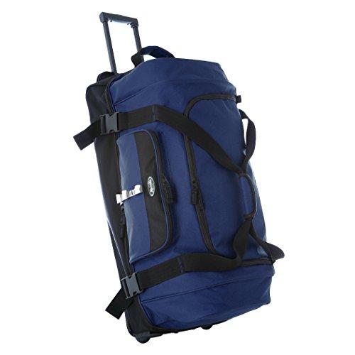 (Olympia 30 Inch Drop Bottom Rolling Duffel Bag, Navy)