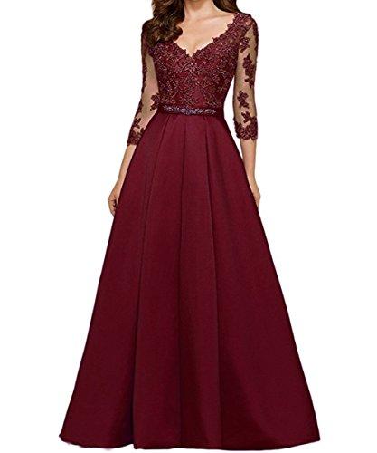 Ausschnitt Burgundy Maxi V Ball Langarm KAIDUN Abendkleider Party Damen 845qgE