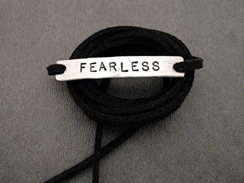 FEARLESS Wrap Bracelet - Hand Hammered, Hand Stamped Nickel Silver Pendant on 3 Feet of Black Micro Fiber Suede - Wrap it around your wrist or tie it on your shoe!