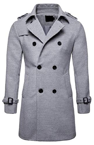 Double security Breasted Jacket Long Men's Fit Wool Blend Coat 1 Overcoat Slim anf1pBqaw