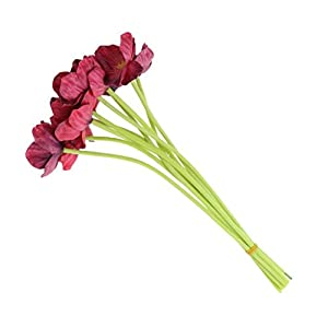 10 PCS High Quaulity Fresh Artificial Mini Real Touch PU/ latex Corn Poppies Decorative Silk fake artificial poppy flowers for Wedding holiday Bridal Bouquet Home Party Decor bridesmaid (Burgundy) 5