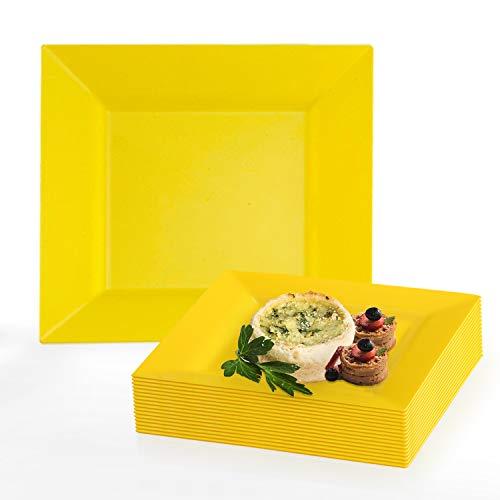 Yellow Rose Salad Plate - Elegant Disposable Plastic Dessert Plate Set - 120 Heavy Duty Fancy Square Yellow Salad or Cake Plates - 6.5