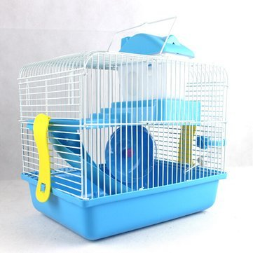 Hamster Mouse Cage – Hamster Cage House – 2 Floor Storey Hamster Mouse Cage House Play Slide Spinning Wheel Drink Bottle ( Blue Hamster Cage )