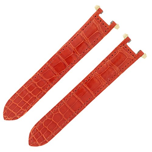 Cartier KD1K9R22 8-16mm Shiny Orange Alligator Leather Men's Watch Band (Cartier Watch Bands)