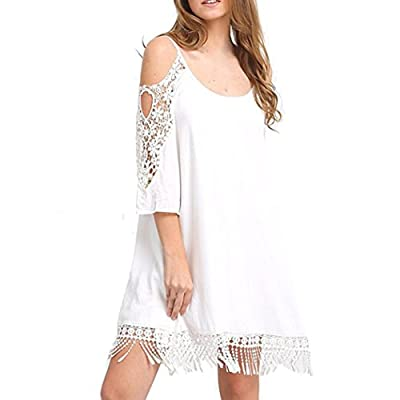 Fullfun Women Sexy Tassel Lace Dress A-line Fringe Sleeveless Party Shift Flapper Dress