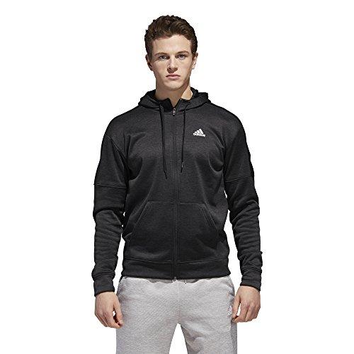 (adidas Athletics Team Issue Full Zip Fleece Hoodie, Black, Large)