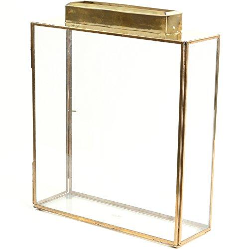 Koyal Wholesale Glass Wedding Card Gift Box Holder, Reception Drop Box, Large Pillar Candle Holder, Modern Lantern Table Decor, Geometric Wedding Decor (Gold, 15.5 x 11.5 x 4-Inch) (Workspace Trim)