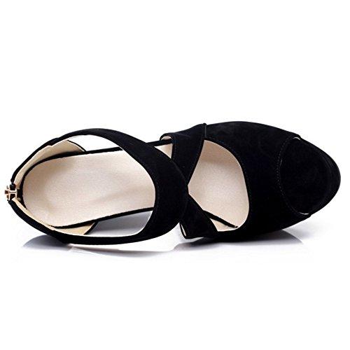 RAZAMAZA Mujer Cross Strap Plataforma tacon Alto Sandalias Peep Toe Tacones Zapatos Negro