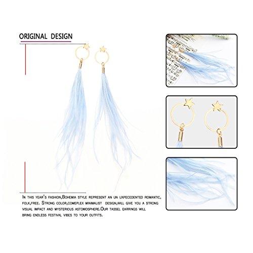 Fashion Boho Elegant Thread Dangle Earrings Star&Round Embellishment Handmade Feather Jewelry Blue by Edress Jewellery (Image #2)