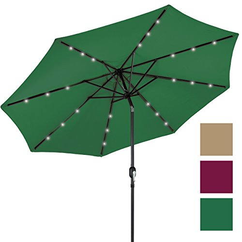 Best Choice Products 10' Deluxe Solar LED Lighted Patio Umbrella With Tilt Adjustment- Green