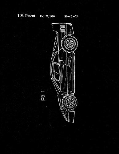 Ferrari Patent Print Art Poster Black Matte
