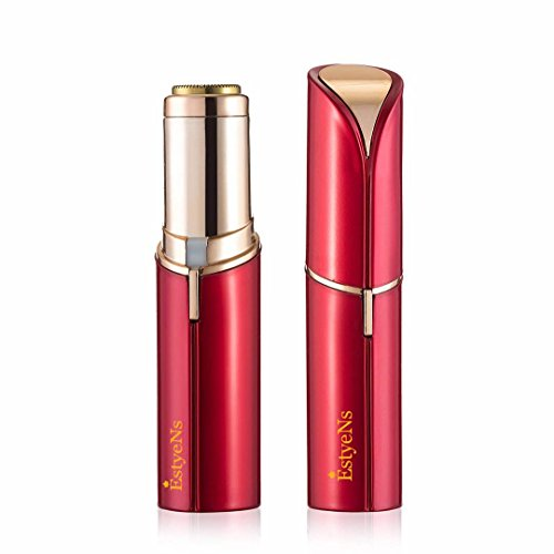 EstyeNs Flawless Women's Painless Hair Remover - Facial Face Chin Nose - Electric Machine- Mini Shaver Face/Bikini/Arm Area - Hair Trimmer - Thin Hair - Lipstick Design - 18K Gold-Plated Head in Beautiful Rose Gold - Discreet and Portable (Red)
