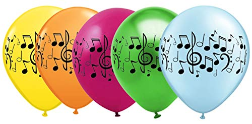 Music Note Balloons for Band, Choir, or Music Birthday Party - 25 Pack Assorted Colors -
