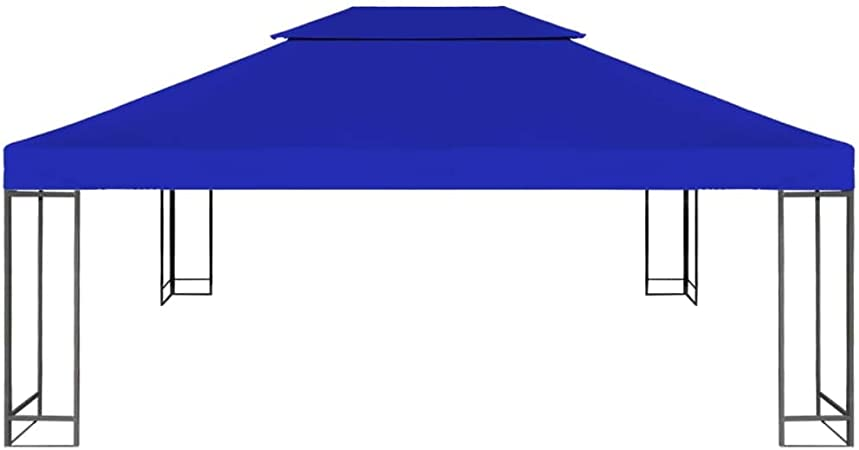 tidyard Toldo de 2 Niveles Toldo de Repuesto Carpa de Jardín Cenador para Patio Tienda para Camping Fiesta Celebraciones Evento al Aire Libre 310g/m² 4x3m Azul(Estructura de Cenador No Incluida): Amazon.es: Hogar