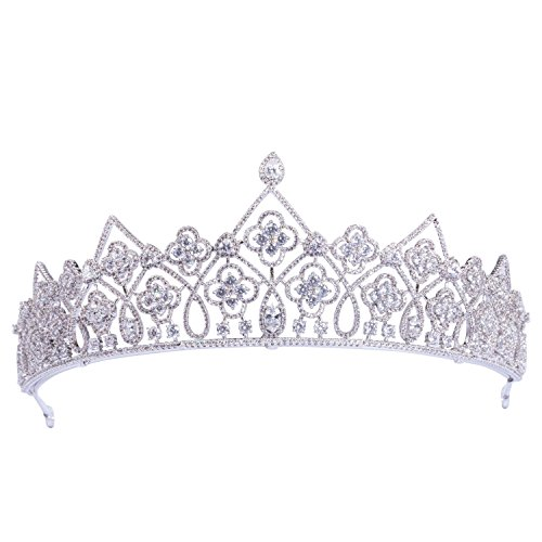 70ILY Medieval Handmade Crown CZ Jewelry for Hair Bridal Headband Wedding Evening Hair Crown (Evening Shimmer Jewelry)
