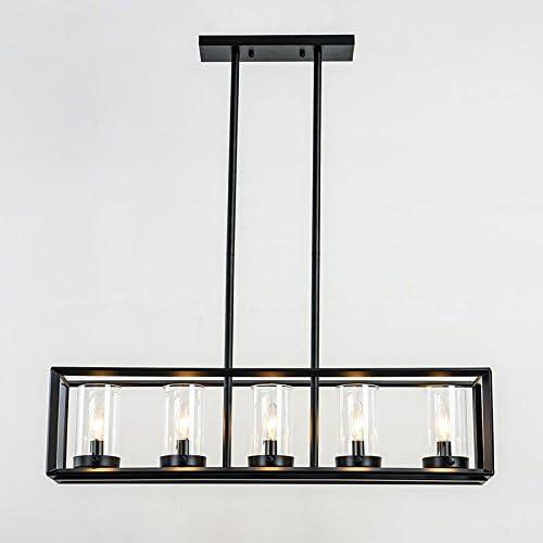 JinYuZe Black 5-Light Kitchen Island Light,Clear Glass Shade Metal Frame Linear Pendant Lighting,Pool Table Light for Living Room Dining Room Bedroom