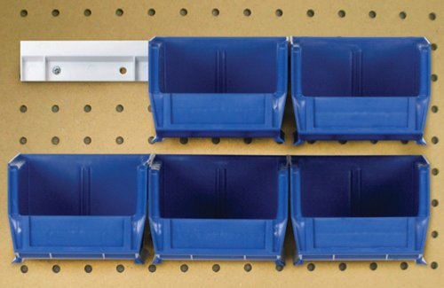 Quantum HNS210BL Hanging Rail System, 5-3/8-Inch Long by 4-1/8-Inch Wide by 3-Inch High, Blue, Set of 6 bins and 2 rails by Quantum Storage Systems