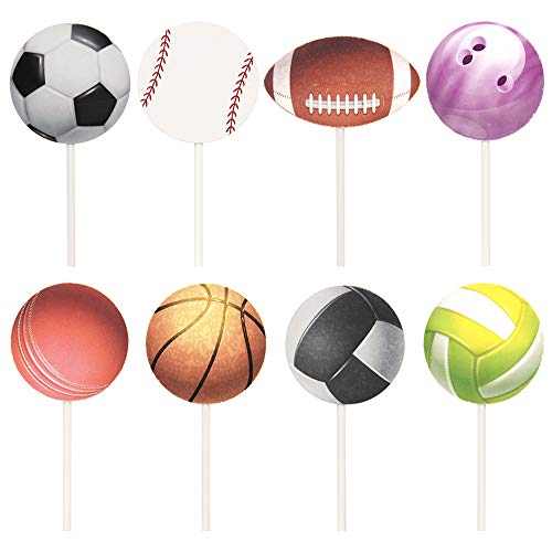 Newqueen 24 Pack Sport Balls Cupcake Toppers Baseball/Football/Basketball/Rugby/Bowling Cupcake Picks Sport Theme Baby Shower Birthday Party Cake Decors (Football Cup Cake Topper)