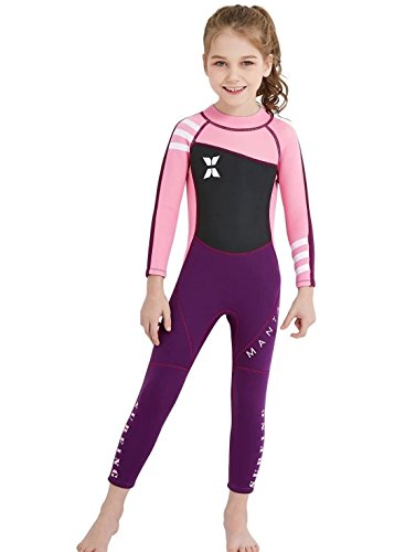 (DIVE & SAIL Kids Wetsuit Long Sleeve Swimsuit Thermal UV Protection Full Wetsuit 2mm Swimming Suit Pink)
