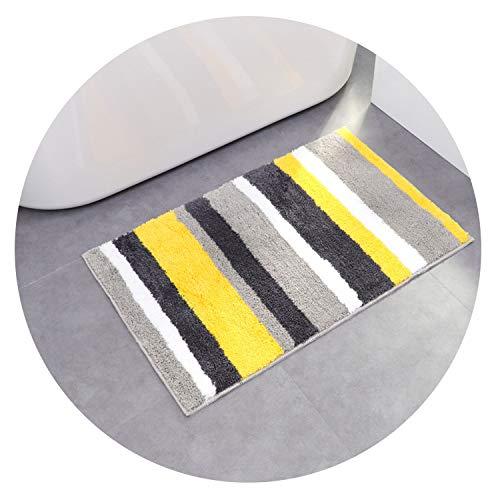 Stripe Microfiber Doormat Area Rug Bathroom Kitchen Non-Slip Small Carpet Door Floor Mat Striped Modern Mats Home Decor Supplies,Yellow
