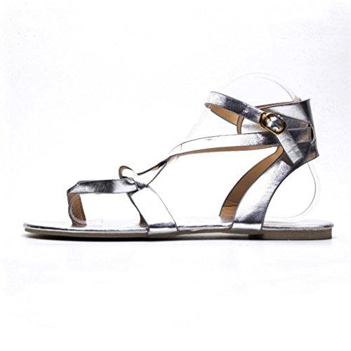 Sandalen Round Atmungsaktive VJGOAL Mode up Sommerschuhe Sandalen Rom Lace Damen Strand Toe Flache Silber Casual Damen fIq1vU